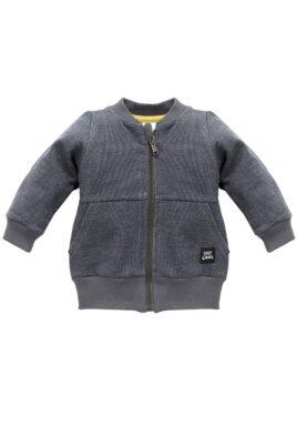 Pinokio dunkelgraue Baby Zip Sweatjacke strukturiert mit Taschen, Patch für Jungen & Mädchen – Reißverschluss Pullover Sweatshirt Oberteil unisex – Vorderansicht