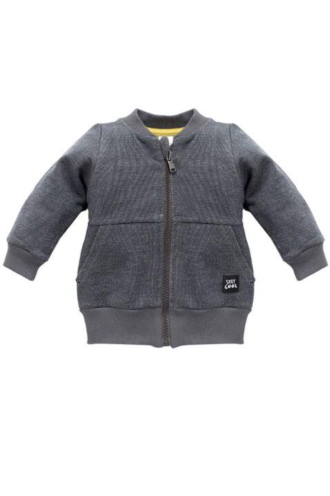 Dunkelgraue Baby Zip Sweatjacke strukturiert mit Taschen, Patch für Jungen & Mädchen - Reißverschluss Pullover Sweatshirt Oberteil unisex von Pinokio - Vorderansicht