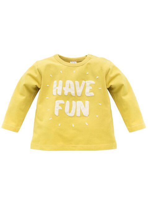 Gelbes Baby Langarmshirt Sweatshirt mit HAVE FUN Flockdruck - Jungen & Mädchen leichter Rundhals Pullover langarm Oberteil von Pinokio - Vorderansicht