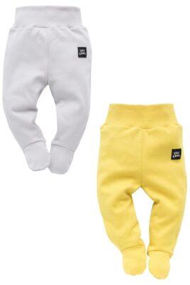 Pinokio Set graue & gelbe Baby Strampelhose mit Füßen & Stay Cool Patch für Jungen & Mädchen – Hellgraue Baumwoll Schlafhose, Babyhose & Stramplerhose unisex – Vorderansicht