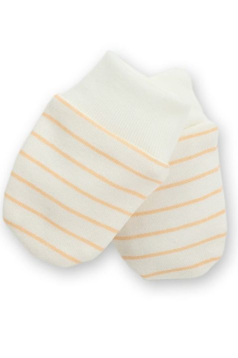 Weiß orange gestreifte Baby Fäustlinge mit gerippten Bündchen für Jungen & Mädchen - Fausthandschuhe unisex Herbst Winter Kälte von Pinokio - Vorderansicht
