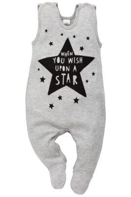 """Pinokio grauer Baby Strampler mit Fuß & Schriftzug """"WHEN YOU WISH UPON A STAR"""" für Jungen & Mädchen – Hellgrauer Strampelanzug & Babystrampler unisex – Vorderansicht"""