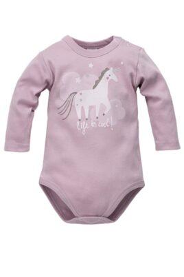 """Pinokio rosa Baby Mädchen Body langarm mit Einhorn Wolken Sterne Motiv, Glitzereffekt & Schriftzug """"life is cool!"""" – Baumwoll Langarmbody & Babybody – Vorderansicht"""