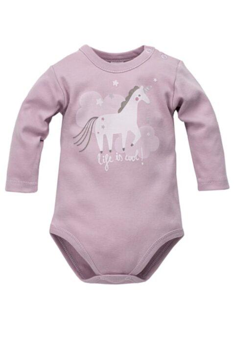 """Rosa Baby Mädchen Body langarm mit Einhorn Wolken Sterne Motiv, Glitzereffekt & Schriftzug """"life is cool!"""" - Baumwoll Langarmbody & Babybody von Pinokio - Vorderansicht"""