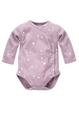 Pinokio rosa Baby Mädchen Wickelbody langarm mit weißen kleinen Sternen – Baumwoll Langarmbody & Babybody Unterwäsche Einteiler – Vorderansicht