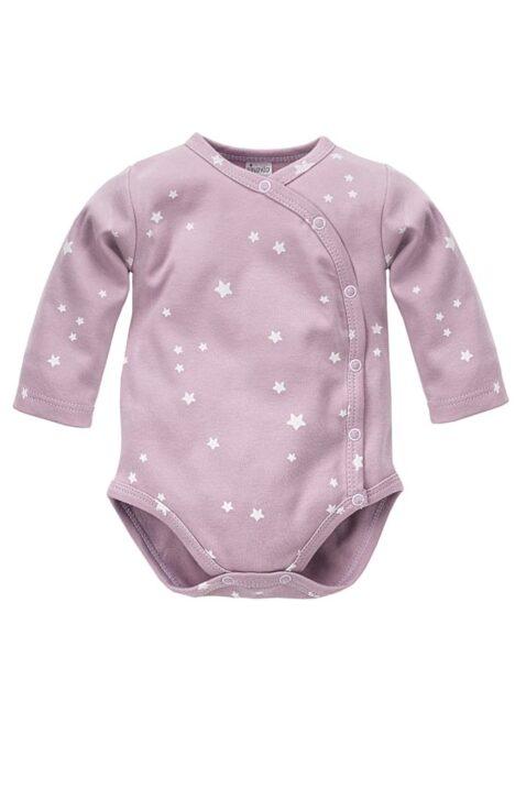 Rosa Baby Mädchen Wickelbody langarm mit weißen kleinen Sternen - Baumwoll Langarmbody & Babybody Unterwäsche Einteiler von Pinokio - Vorderansicht