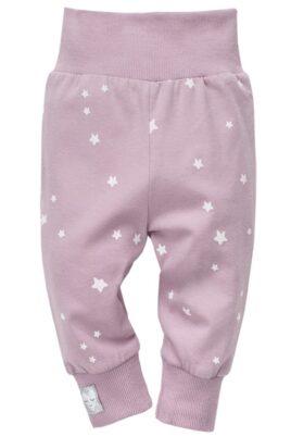 """Pinokio rosa Baby Leggings Sweathose mit Sterne weiß & Patch """"Schlafendes Herz"""" am Beinabschluss Bündchen für Mädchen – Baby Schlupfhose & Schlafhose mit Bündchen Komfortbund – Vorderansicht"""