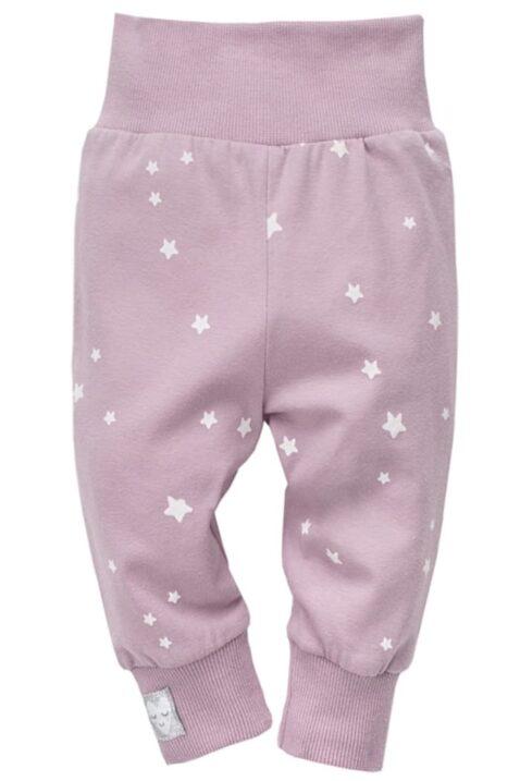 """Rosa Baby Leggings Sweathose mit Sterne weiß & Patch """"Schlafendes Herz"""" am Beinabschluss Bündchen für Mädchen - Baby Schlupfhose & Schlafhose mit Bündchen Komfortbund von Pinokio - Vorderansicht"""