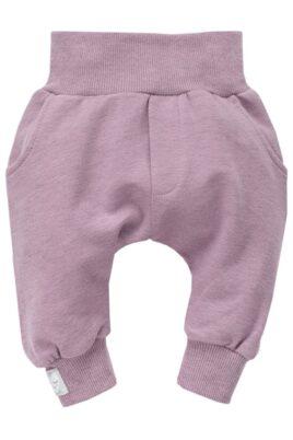 """Pinokio rosa Baby Pumphose Sweatpants mit Taschen & silbernem Patch """"Schlafendes Herz"""" Babyhose für Mädchen – Haremshose & Schlupfhose mit Komfortbund & breiten Bündchen – Vorderansicht"""