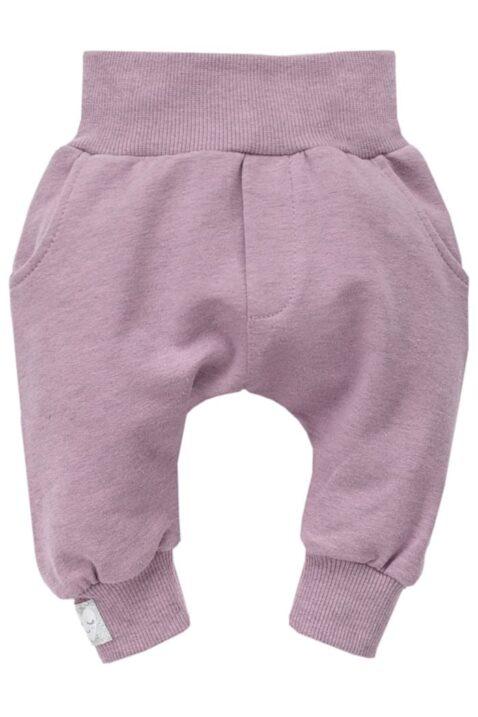 """Rosa Baby Pumphose Sweatpants mit Taschen & silbernem Patch """"Schlafendes Herz"""" Babyhose für Mädchen - Haremshose & Schlupfhose mit Komfortbund & breiten Bündchen von Pinokio - Vorderansicht"""