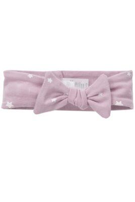 Pinokio rosa Baby Stirnband Haarband mit weißen Sternen & Zierschleife für Mädchen – Vorderansicht