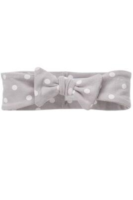 Pinokio graues Baby Stirnband Haarband mit weißen Punkten & Zierschleife für Mädchen – Weiß gepunktetes Stirnband – Vorderansicht