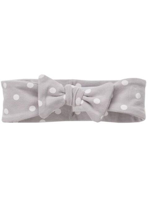 Graues Baby Stirnband Haarband mit weißen Punkten & Zierschleife für Mädchen - Weiß gepunktetes Stirnband von Pinokio - Vorderansicht
