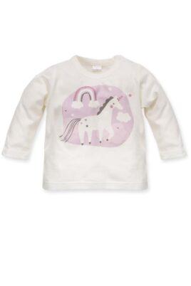 Pinokio weißes Baby Langarmshirt Rundhals Oberteil mit Einhorn Motiv für Mädchen – Ecru Langarm Oberteil Sweatshirt Tier Baumwollshirt – Vorderansicht