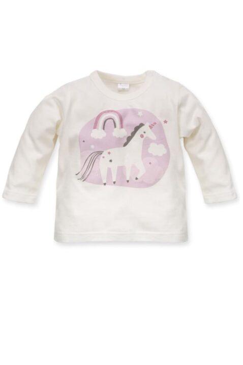 Weißes Baby Langarmshirt Rundhals Oberteil mit Einhorn Motiv für Mädchen - Ecru Langarm Oberteil Sweatshirt Tier Baumwollshirt von Pinokio - Vorderansicht