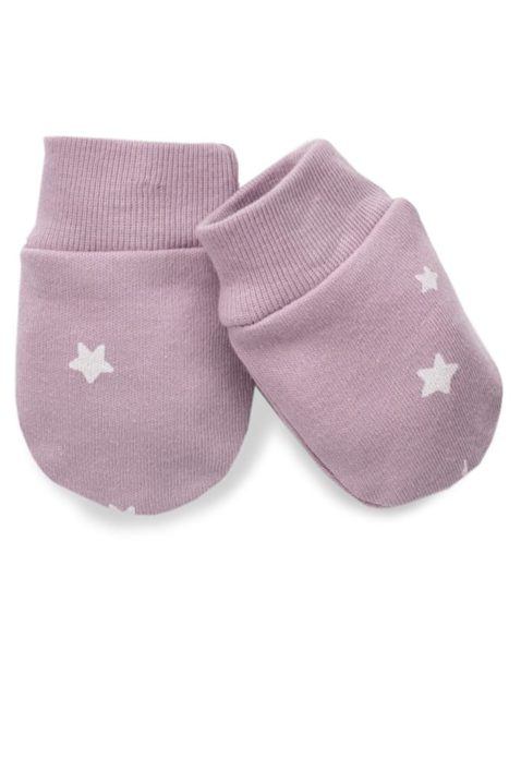 Rosa Baby Handschuhe Fäustlinge mit weißen Sterne & gerippten Bündchen für Mädchen - Kinder Fausthandschuhe Herbst empfindliche Hände Winter Kälte von Pinokio - Vorderansicht