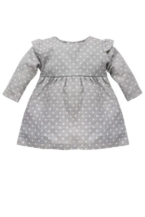 Graues Baby Langarmkleid mit weißen Punkten & Rüschendetails für Mädchen - Gepunktetes hellgraues Kinder Babykleid Baumwollkleid mit All-over-Muster Polka Dot von Pinokio - Vorderansicht