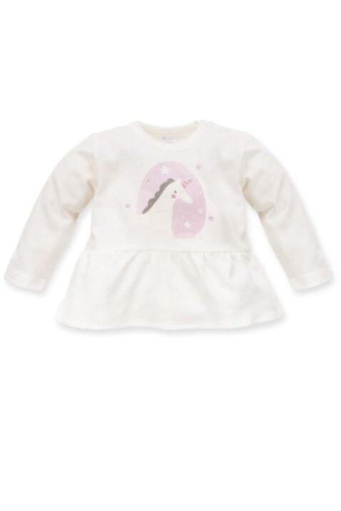 Weißes ecru Baby Langarmshirt in Kleidchenoptik mit Einhorn Motiv für Mädchen - Langarm Kinder Tunika Kleid Oberteil Baumwollshirt mit Druckknöpfe von Pinokio - Vorderansicht