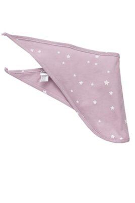 Pinokio rosa Baby Halstuch mit weißen kleinen Sternen für Mädchen – Rosa Baumwoll Dreieckstuch, Sabbertuch & Spucktuch unifarben – Vorderansicht