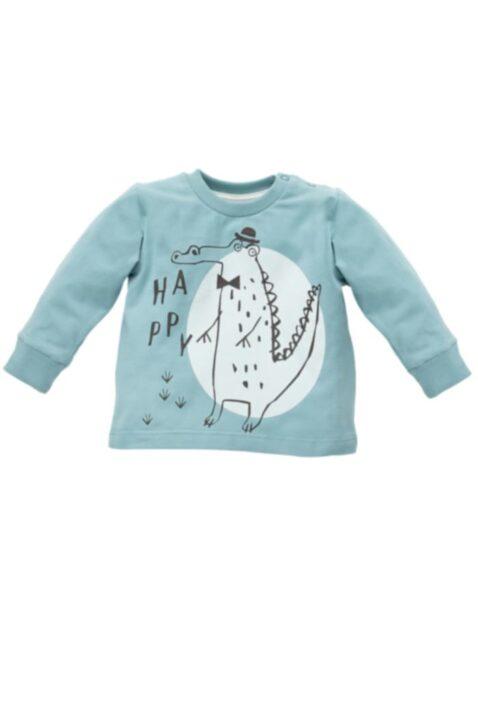 Grünes Baby Langarmshirt Sweatshirt mit Krokodil Motiv & Happy Schriftzug für Jungen - Türkiser Rundhals Baby Pullover Sweater langarm Oberteil mit Bündchen von Pinokio - Vorderansicht