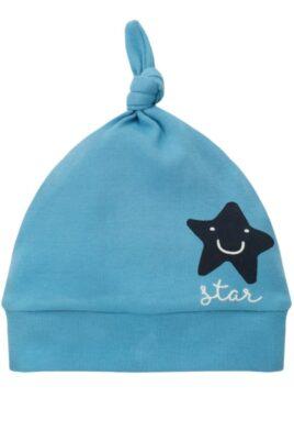 Pinokio blaue Baby Mütze mit lachendem Stern Motiv, kleinem Knoten an der Spitze & Schriftzug Star für Jungen – Babymütze Kindermütze Baumwolle unifarben Zipfelmütze – Vorderansicht