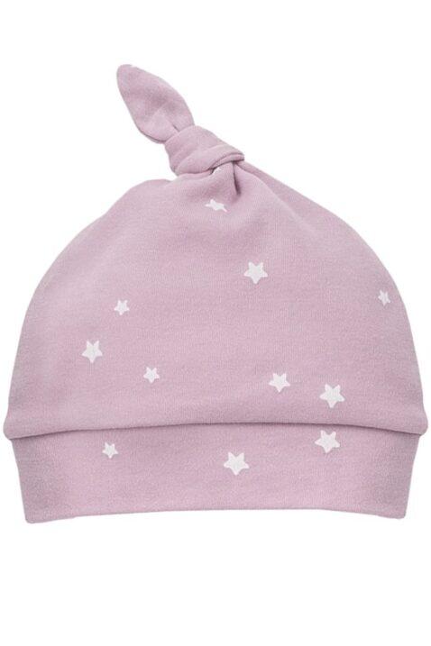 Rosa Baby Mütze mit weißen kleinen Sternen Motiven, kleinem Knoten an der Spitze für Mädchen - Babymütze Kindermütze Baumwolle unifarben Zipfelmütze von Pinokio - Vorderansicht
