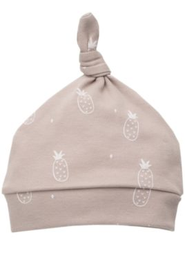 Pinokio beige Baby Mütze mit weißen kleinen Ananas Motiven, kleinem Knoten an der Spitze für Mädchen & Jungen – Babymütze Kindermütze Baumwolle unifarben unisex Zipfelmütze – Vorderansicht