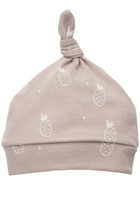 Beige Baby Mütze mit weißen kleinen Ananas Motiven, kleinem Knoten an der Spitze für Mädchen & Jungen - Babymütze Kindermütze Baumwolle unifarben unisex Zipfelmütze von Pinokio - Vorderansicht