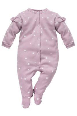 Pinokio rosa Baby Schlafstrampler Schlafoverall mit Füßen, Rüschen & weisse kleine Sterne Motive für Mädchen – Schlafanzug & Strampelanzug Baby Overall Pyjama einteilig Einteiler – Vorderansicht