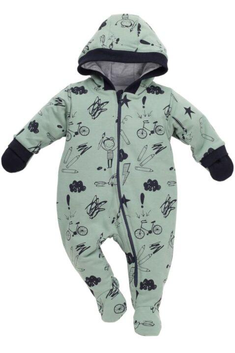 Grüner gefütterter Baby Overall Strampler Anzug mit Füßen & Kapuze mit Schulmotiven für Jungen - Wärmender einteiliger türkiser Babyoverall Strampelanzug mit Handschutz Winteranzug von Pinokio - Vorderansicht