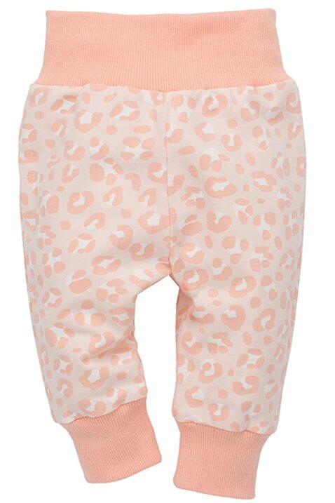Rosa Baby Leggings Sweathose mit Leopardenmuster, breiter Komfortbund & Bündchen für Mädchen - Schlupfhose Babyhose mit Panther Leoparden-Tatzen Tier Schlafhose Jogginghose von Pinokio - Vorderansicht