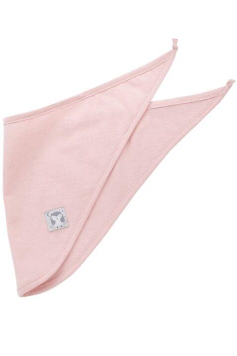 Rosa Baby Halstuch Dreieckstuch mit Eulen Patch Glitzer glänzend aus Baumwolle für Mädchen - Sabbertuch Spucktuch für Kinder in unifarben Tuch Accessoire von Pinokio - Vorderansicht