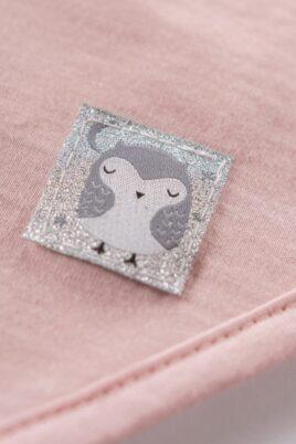 Rosa Baby Halstuch Sabbertuch mit Eulen Patch Glitzer glänzend aus Baumwolle für Mädchen - Dreieckstuch unifarben Spucktuch für Kinder als Tuch Accessoire von Pinokio - Detailansicht