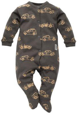 Pinokio graphit grauer Baby Schlafoverall mit Füßen, Patch & braunen Oldtimer Autos Rennwagen Motive für Jungen – Dunkelgrauer Einteiler Schlafanzug Schlafstrampler & Strampelanzug Baby Overall Pyjama einteilig – Vorderansicht