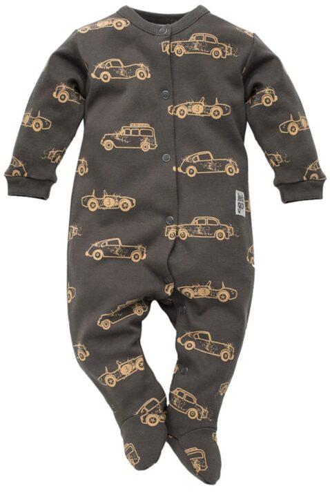 Graphit grauer Baby Schlafoverall mit Füßen, Patch & braunen Oldtimer Autos Rennwagen Motive für Jungen - Dunkelgrauer Einteiler Schlafanzug Schlafstrampler & Strampelanzug Baby Overall Pyjama einteilig von Pinokio - Vorderansicht