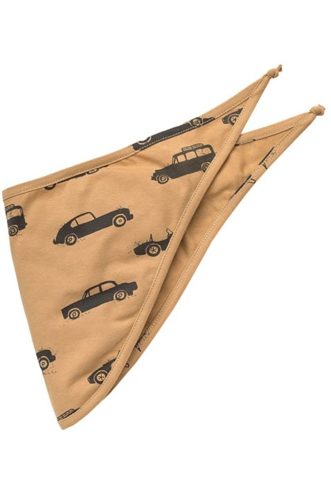 Braunes Baby Halstuch Dreieckstuch mit Oldtimer Autos Rennwagen Sportwagen Motiven für Jungen - Hellbraunes Ocker Sabbertuch Spucktuch für Kinder in unifarben Tuch Accessoire von Pinokio - Vorderansicht
