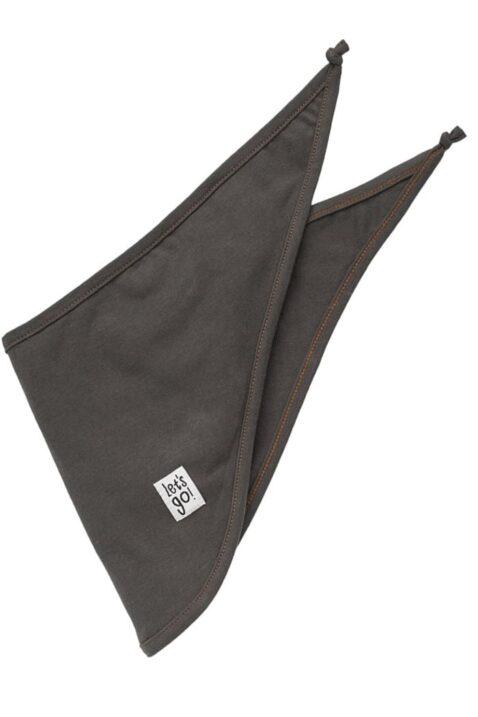 Graues Baby Halstuch Dreieckstuch mit Let´s go Patch für Jungen & Mädchen - Dunkelgraues Sabbertuch Spucktuch für Kinder in unifarben Tuch Accessoire unisex von Pinokio - Vorderansicht