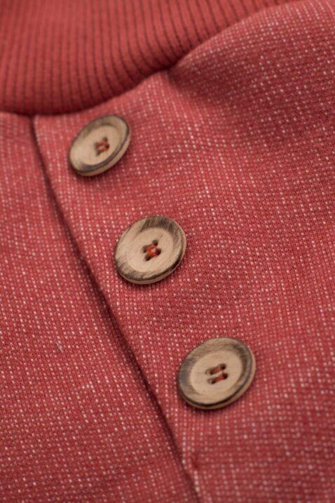 Rote Baby Pumphose Haremshose strukturiert mit Knöpfe asymmetrisch & Patch Be Happy & für Jungen & Mädchen - Bordeauxrote Sweatpants Schlupfhose Babyhose Joggingshose unisex von Pinokio - Detailansicht