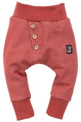 Pinokio rote Baby Pumphose Sweatpants Haremshose strukturiert mit Patch Be Happy & Knöpfe asymmetrisch für Jungen & Mädchen – Bordeauxrote Babyhose Joggingshose Schlupfhose unisex – Vorderansicht