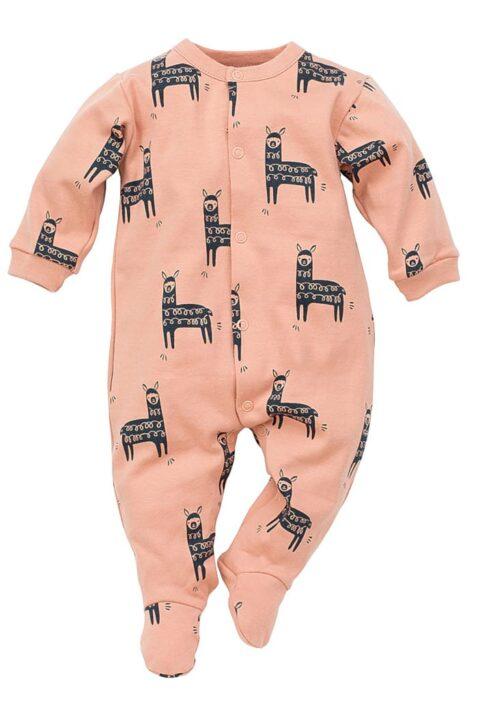 Orangener Baby Schlafoverall mit Füßen & Lama Motiven für Jungen & Mädchen - Dunkel oranger langer Einteiler Schlafanzug Schlafstrampler & Strampelanzug Baby Overall Pyjama einteilig Baumwolle von Pinokio - Vorderansicht