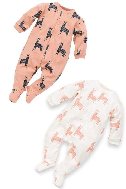 Set Baby Schlafanzug Pyjama Schlafoverall mit Füßen & Lama Motiven in Weiß & Orange aus der Happy Lama Kollektion für Jungen & Mädchen - Langer langarm Baby Overall Schlafstrampler Einteiler & Strampelanzug Babyoverall einteilig aus Baumwolle von Pinokio - Set Inspiration