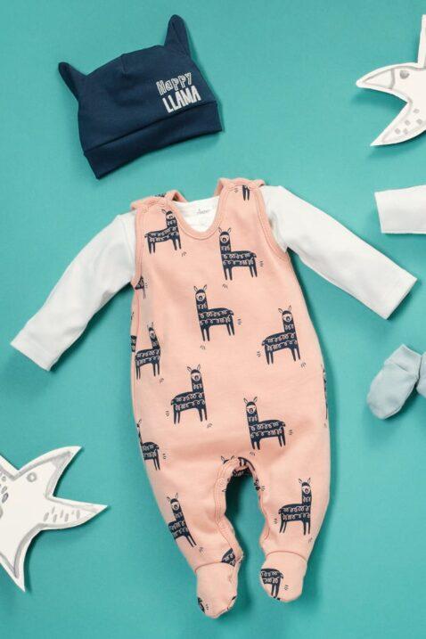 Set orangener Baby Strampler mit Füßen & Lama Motive Einteiler - Blaue Lama Babymütze mit Motiv - Weisses langarm Oberteil Baby Body für Jungen & Mädchen unifarben unisex von Pinokio - Set Inspiration