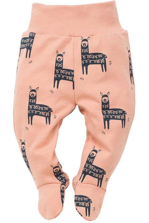 Orangene Baby Strampelhose mit Fuß & Lama Motiven für Jungen & Mädchen - Babyhose Lama Baumwollhose mit Komfortbund Schlupfbund Kinder Schlafhose unifarben von Pinokio - Vorderansicht
