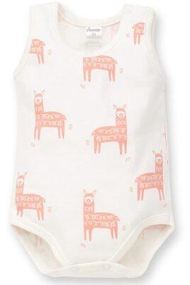 Pinokio weißer Baby Body ärmellos mit Lama Motiven für Jungen & Mädchen – Ecru weißer Babybody ohne Arm Tierbody Wäsche ohne Ärmel unisex unifarben Unterwäsche – Vorderansicht