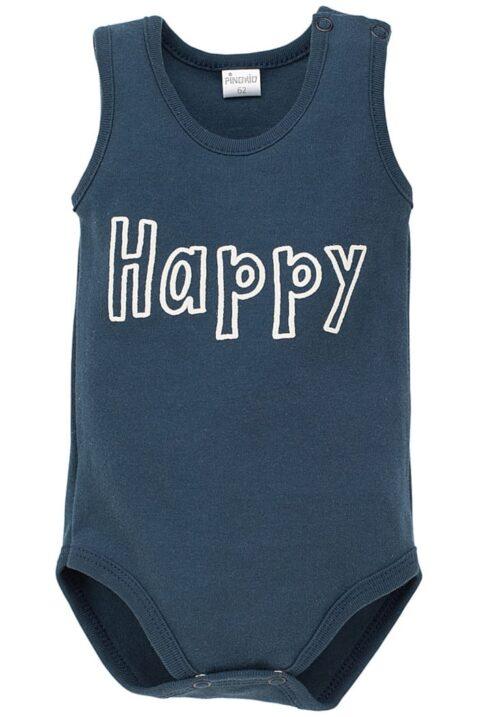 Blauer Baby Body ärmellos mit Happy Schriftzug für Jungen & Mädchen - Navy marineblauer Babybody ohne Arm Oberteil Einteiler Wäsche ohne Ärmel unisex unifarben Unterwäsche von Pinokio - Vorderansicht