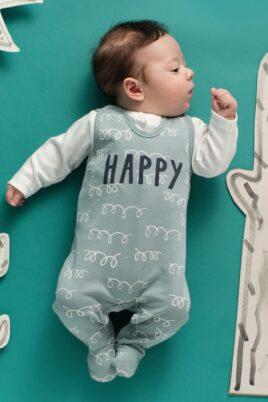 Schlafender Junge trägt Baby Strampler grün mit Fuß & Lama Happy Lamawolle Baumwoll Motive Strampelanzug - Weisses ecru Oberteil langarm Babyjäckchen Langarmbody mit Lama Patch Motiv von Pinokio - Babyphoto