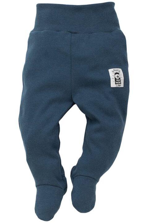 Blaue Baby Strampelhose mit Fuß & Lama Patch für Mädchen & Jungen - Marineblaue navy Stramplerhose mit Füßen Baumwollhose Schlafhose Komfortbund im Lama Strampler Design von Pinokio - Vorderansicht