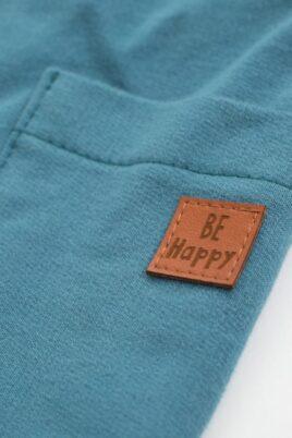 Blau grüne Jogginghose Sweathose mit Patch Be Happy, Seitentaschen & Kordel für Jungen & Mädchen - Blau Türkise Kinder Baby Hose mit Taschen Seitentaschen, Kordelbund, Komfortbund unifarben Baumwollhose Schlupfhose Babyhose von Pinokio - Detailansicht