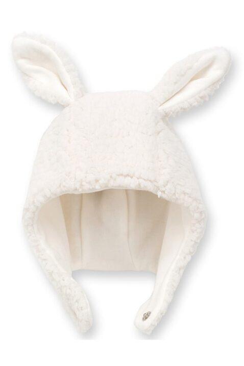 Weiße gefütterte Baby Mütze mit Ohren & Ohrenklappen im Lama Design mit verstellbaren Druckknöpfen für Mädchen - Warme Winter Tier Babymütze & Kindermütze mit Lama Öhrchen für Herbst, Winter, Frühling in Ecru Hasenohren von Pinokio - Vorderansicht