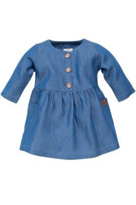 Pinokio blaues Baby Langarmkleid mit Taschen & Patch in Blue Denim Jeans Optik aus Lyocell Tencel mit Holzknöpfen für Mädchen – Marine blaues Rundhals Langarm Kinder Babykleid Jeanskleid atmungsaktiv & strapazierfähig – Vorderansicht